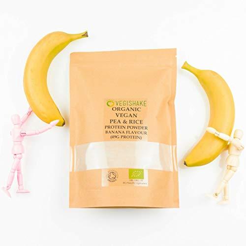 Organic Pea & Rice Protein Powder Banana Flavour 49g Plant Protein Amino ECAA BCAA Complete Vegan (250g Powder)