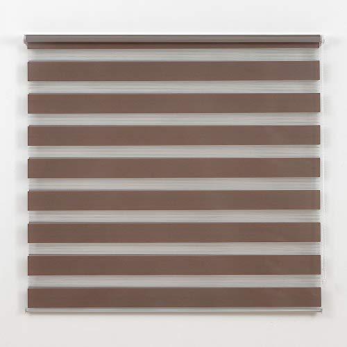 Frenessa Doppelrollo für Fenster / Türen / Schlafzimmer / Büro, Braun, 120 x 180 cm