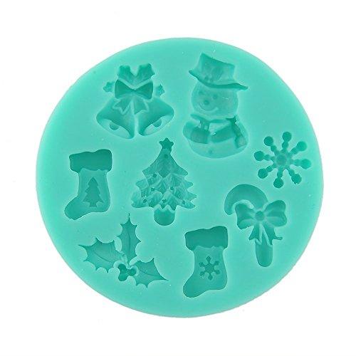 Fairy - Stampo per dolci in silicone con le seguenti forme: calze, pupazzo di neve, albero di Natale