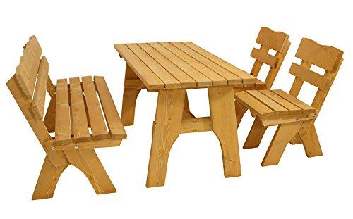 DEGAMO Gartengarnitur Freital 150cm 4-teilig, 2X Stuhl, 1x Bank 150cm und 1x Tisch 70x150cm, Kiefer imprängiert