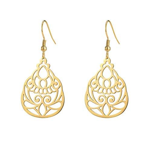 Hollow Chinese Knot Women's Earrings, Titanium Steel Stainless Steel Tassel Earrings, Pastoral Style Flower Hollow Retro Personalized Earrings 02