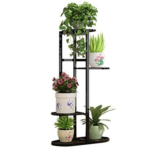 Seciie Étagère à Fleurs Fer Forgé Porte Plante de 4 Niveaux Support de Pot de Fleurs pour Jardin Balcon Terrasse - 45 x 22 x 83cm