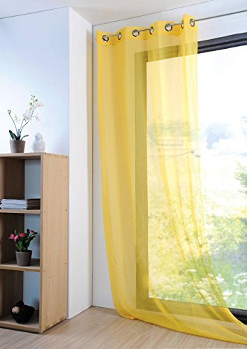 Lovely Casa R61697001VL Tenda trasparente, in poliestere, 135x 260cm, Giallo