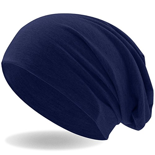 Hatstar Klassische Slouch Long Beanie Mütze, leicht und weich, für Damen und Herren (Navy)