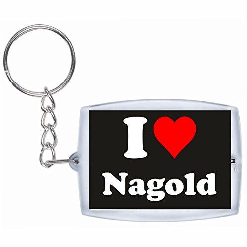 Druckerlebnis24 Schlüsselanhänger I Love Nagold in Schwarz - Exclusiver Geschenktipp zu Weihnachten Jahrestag Geburtstag Lieblingsmensch
