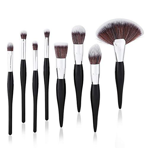 Maquillage Pinceaux-8pcs Kit Pinceau Maquillage Poudre Fond de Teint Argent Noir Argent Pinceau Cosmétique