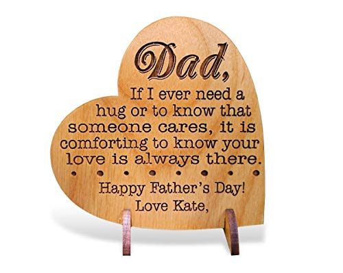 Custom Engraved Alder Wood Greeting Card for Dad Personalized Heart Shaped Fathers Day, Birthday, Chrismas, Thank You Unique Daddy Godfather Grandpa Dad Gift from Kids Wife for Him Comes with Stand