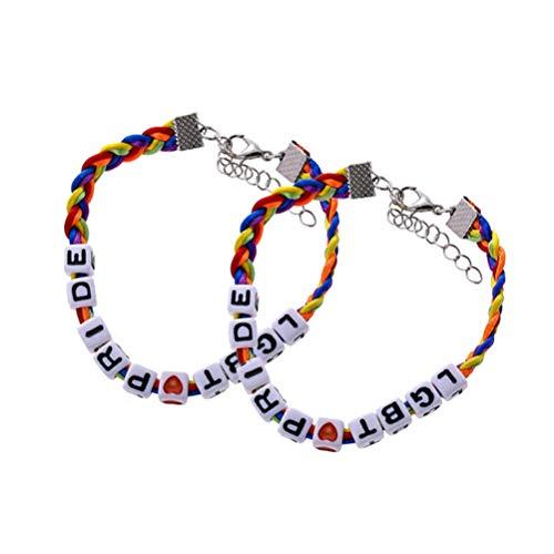 Amosfun - 2 pulseras trenzadas con cuentas de macramé de macramé trenzadas ajustables con rayas de arco iris, macramé para novias, mujeres, novios y hombres