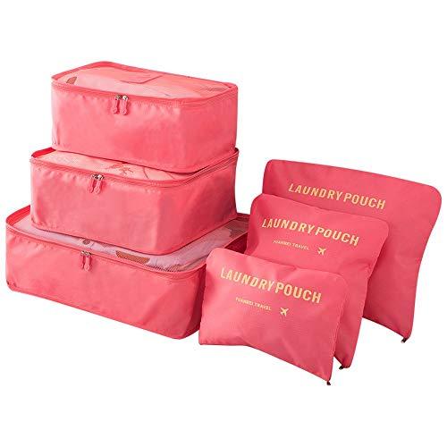 6 en 1 Set de Organizador de Equipaje Viaje con Bolsa de Zapato,Impermeable Organizador de Maleta Bolsa para Ropa Sucia de Viaje, Material Nylon (Rosa 1)