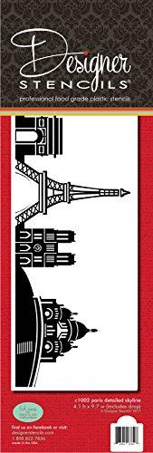 París Detallada Skyline Cake Stencil Lado C1002by Designer Plantillas
