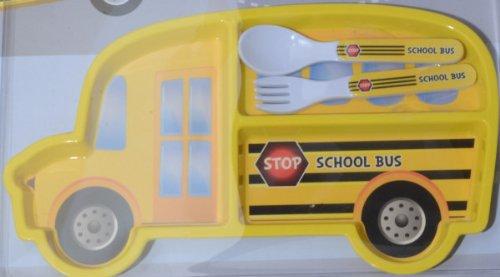 Set Plateau Repas et Couverts Enfant Design School Bus Jaune