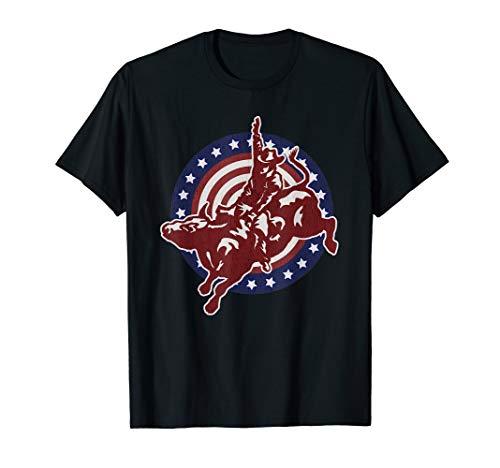 Bull Riding Rodeo Rider Cowboy Vintage American USA Flag T-Shirt