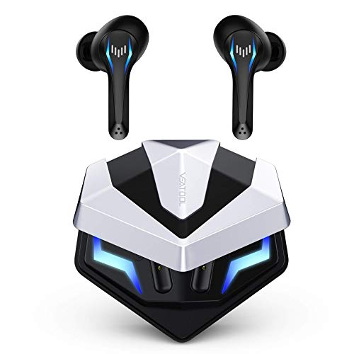 VEATOOL Wireless Earbuds Bluetooth Headphones Game/Music Mode Earphones in-Ear Headset,Stereo Sound Gaming Earbuds with Built-in Mic for Running Sport