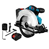 "Nawenjuyu 20V Max Cordless Circular Saw, 7-1/4"" Power Circular Saw Brushless Includes Electric, Fast Charger, Max Cutting Depth 2-1/4' (90°)"