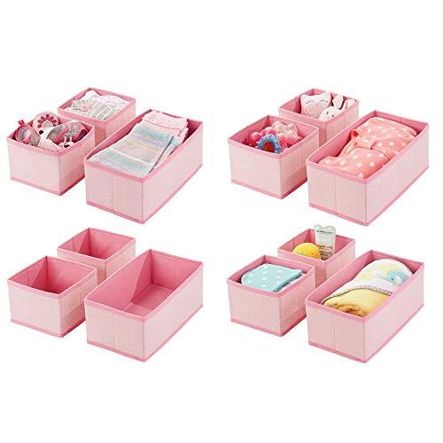mDesign 12er-Set Aufbewahrungsbox – atmungsaktive Stoffbox mit Fischgrätmuster für Windeln, Lätzchen etc. – vielseitige Schubladen Organizer für das Kinderzimmer – pink
