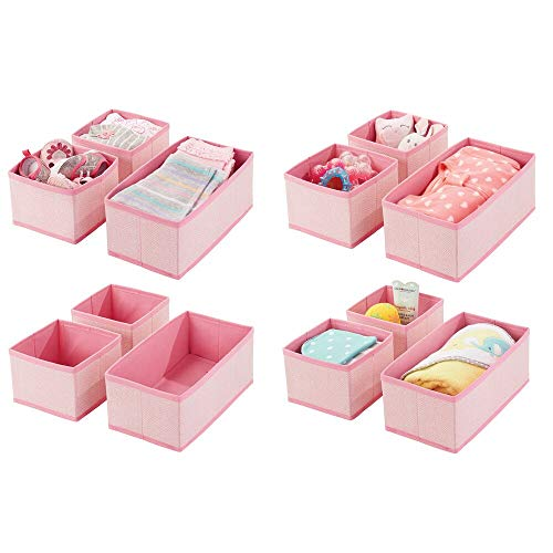 mDesign Set da 12 Organizer in stoffa – Contenitore portaoggetti in fibra sintetica per calze, biancheria, leggins, ecc. – Versatili box per cassetti per camera da letto – rosa