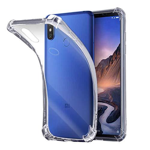 ELECTRÓNICA REY - Funda Anti-Shock Gel Transparente para XIAOMI MI MAX 3, Ultra Fina 0,33mm, Esquinas Reforzadas, Silicona TPU de Alta Resistencia y Flexibilidad