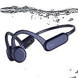 AQUYY Auriculares de Natación Bluetooth 5.0 de Conducción ósea, Reproductor de MP3 de Natación de 8GB, Cascos Deportivos Inalambricos Impermeable IPX8, Auriculares de Oreja Abierta para Correr 1*Blue