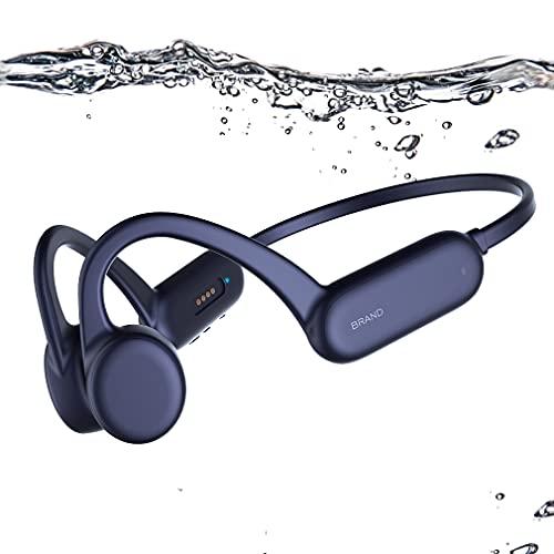 AQUYY Bone Conduction Bluetooth 5.0 Schwimmen Kopfhörer, 8GB Schwimm MP3-Player, IPX8 wasserdichte Kabellos Sportkopfhörer, Unterwasser Headset mit Offenem Ohr für Laufen Radfahren Fitnesss Blue