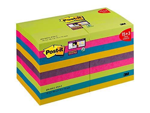 Post-it Super Sticky Notes Promotion Rainbow Collection 654-SSUC-P15+3 – Selbstklebende Haftnotizzettel in 76 x 76 mm – 18 Notizblöcke quadratisch à 90 Blatt in 5 Farben