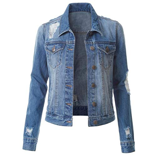 ZYLL Damen-Jeansjacke Damen-Jeansjacke Einreiherige, zerrissene Jeansjacke,Dark Blue,XXL