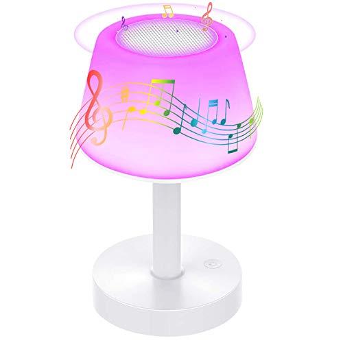 BelonLink Nachttischlampe, LED Nachtlampe mit Dimmer 360° Berührungssensor, mit Bluetooth Lautsprecher, USB Aufladbar Tragbare 6 Farben Tischleuchte für Kinder Schlaf Zimmer Camping (Warmweiß)