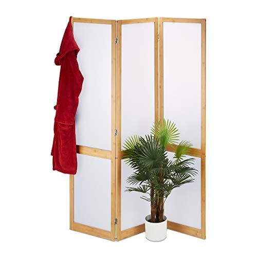 Relaxdays Paravent 3-teilig, Faltbarer Raumtrenner mit Sichtschutz, Bambus & Kunststoff, HxBxT 180 x 135 x 1,5 cm, Natur, 1 Stück