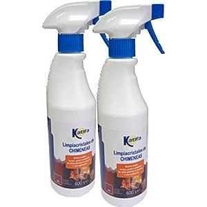 KATIFA Pack 2x600gr. Espuma Limpiacristales de chimeneas y Estufas, pulverizador. Limpia con 1 Sola aplicación. Desengrasa Parrillas, barbacoas, Elimina hollin, Grasa,etc.