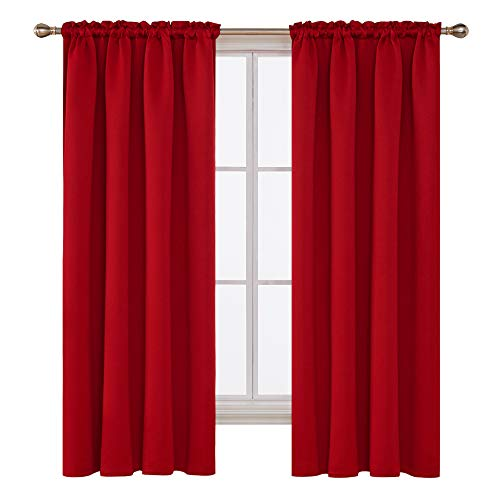 Deconovo Red Blackout Curtains Rod Pocket Drapes Window Curtains for Bedroom True Red 42W x 72L Inch 2 Panels