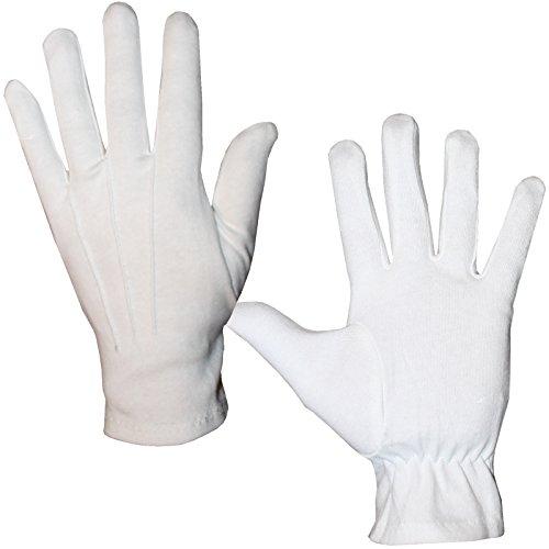 Unbekannt Elegante weiße Handschuhe Gr. L - XXL Fingerhandschuhe Herren für Hochzeit Kostüme (XL)