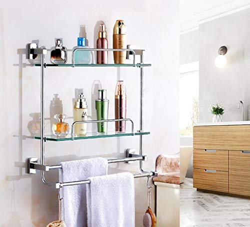 Badkamer plank muur haak wastafel cosmetische standaard volledige koper badkamer hanger glas dubbele laag duurzaam (Maat: 66 cm) 41cm