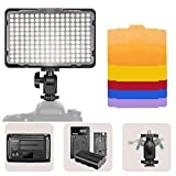 Neewer LED Video Light 176 LED Ultra Bright Dimmable CRI 95+, 5600K with 1/4' Thread and Color Filters (Red/Purple/Green/Yellow)Compatible with DSLR Cameras Camcorder,Battery and USB Charger Included