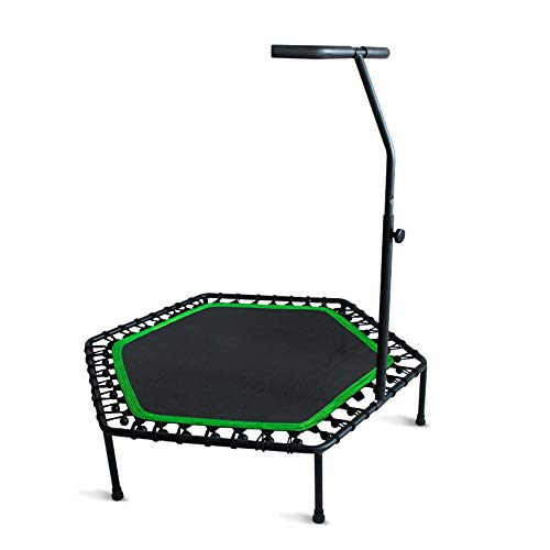 QYF Gartentrampoline 48in Trampolin for Erwachsene, Faltbare Fitness Trampolin mit einstellbarem Handlauf, Indoor Outdoor Fun Fitness Training Workouts, 900lbs Laden