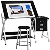 Kealive Adjustable Drafting Table Drawing Desk with Padded Stool, X Cross Art Desk Craft...