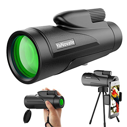 YaNovate 12X50 Monocular Telescope, High Definition Monocular for Adults Kids with Smartphone Holder & Tripod, Scope Compact Waterproof, FMC BAK4 Prism for Hunting Wildlife Bird Watching