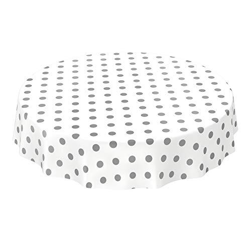 ANRO Tischdecke Wachstuch abwaschbar Wachstuchtischdecke Wachstischdecke Punkte Tupfen Anthrazit Weiß Silber Rund 120cm