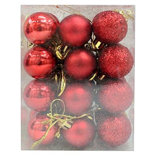 Flytise 24PCS Palle di Natale Set 3cm Ciondolo di Natale Palle Decorative Albero di Natale Ornamenti infrangibili Palla per Alberi di Natale Decorazione Domestica della Festa Nuziale