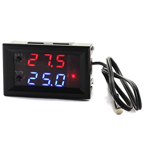 DZS Elec Temperature Controller -50 to 110 Celsius (-58 to 230 F) DC 12V Programmable Heating/Cooling Thermostat Control Switch Module NTC Waterproof Sensor Probe Dual Color LED Display Monitor