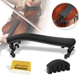 Violin Shoulder Rest for 1/2-1/4 size,Collapsible and Height Adjustable Feet,Violin universal Type Violin Parts soft safety easy to use,High strength sponge,Including Violin Mute and Violin rosin