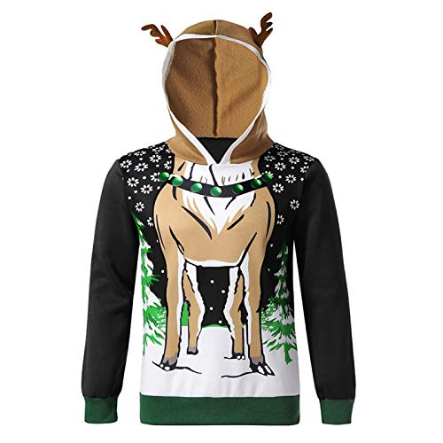 N/Q Natale corna blocco di colore giacca unisex stampa 3D fresco leggero pullover felpe Rugiada 19. XXX-Large