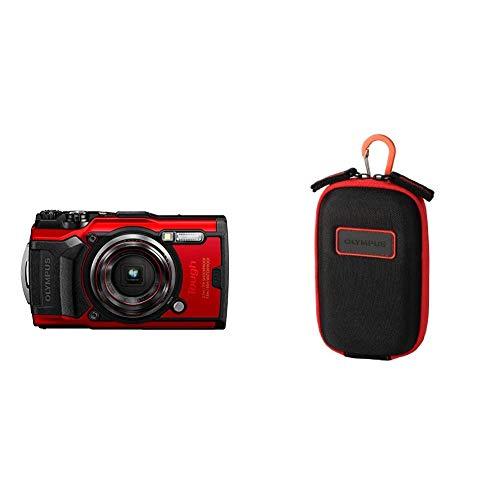 Olympus Tough TG-6 Actionkamera, 12 Megapixel Sensor, Digitale Bildstabilisierung, 4X-Weitwinkel-Zoom, 4k-Video, 120fps, Wi-Fi, rot und CSCH-107 Kameratasche (mit Karabinerhaken)
