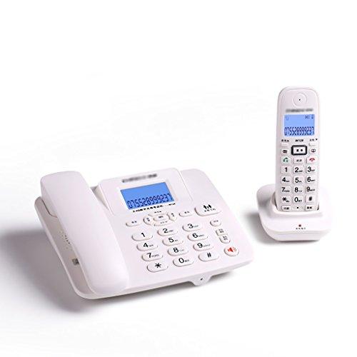 DNSJB telefono inalámbrico Digital con Pantalla LCD Teléfono de botón de línea Fija con contestador automático - Paquete de 2 (Color : White)