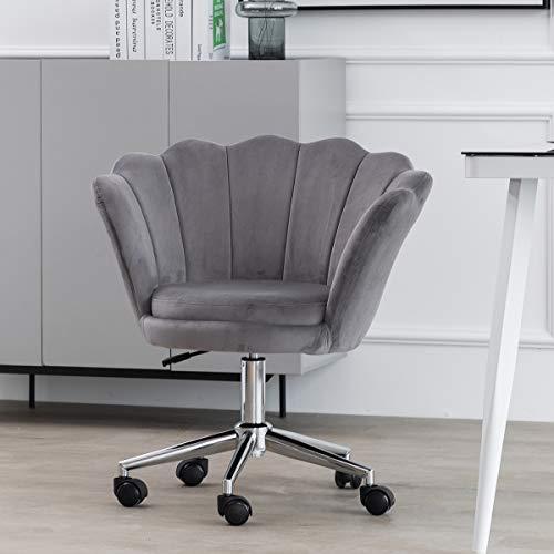 Blütenblatt Bürostuhl Schreibtischstuhl Ergonomisch Grau Samt Computerstuhl Sessel Arbeitsstuhl Drehstuhl mit Armen Verstellbare Höhe für das Zuhause Büro (Grau)