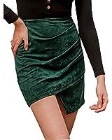 Women's Suede Bodycon Mini Skirt High Waist Asymmetrical Pencil Skirt Green