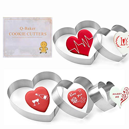 Valentine's Day Cookie Cutters, 5 Pieces Heart Cookie Cutters Biscuit Sandwich Fondant Cutter for Baking and Decorating, Stainless Steel Dough Molds for Anniversary, Bridal, Engagement and Valentine