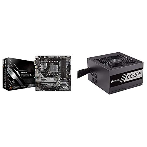 ASRock B450M PRO4 AM4 AMD Promontory B450 SATA 6Gb/s USB 3.1 HDMI Micro ATX AMD Motherboard & Corsair CX Series 550 Watt 80 Plus Bronze Certified Modular Power Supply