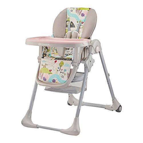 Kinderkraft krzesełko do karmienia TASTEE pink leaf - Tronas, Unisex Infantil, Rosa(pink leaf)