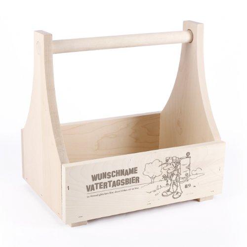 Cera & Toys® Bierträger - Männerhandtasche - aus Holz mit Gravur des Namens zum Vatertag