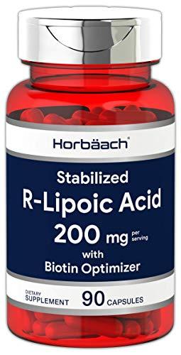 R Lipoic Acid 200mg Stabilized | 90 Capsules | Plus Biotin Optimizer | Non-GMO, Gluten Free | Na-RALA Supplement | by Horbaach