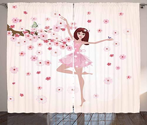 ABAKUHAUS Ballet Gordijnen, Ballerina Girl Sakura Tree, Woonkamer Slaapkamer Raamgordijnen 2-delige set, 280 x 245 cm, Rose Pale Peach